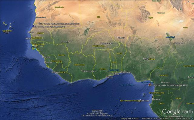 Positions of Blue 1H and the most northerly and southerly UK ospreys in West Africa, November 2013 © Google Earth courtesy of Sally Hutt