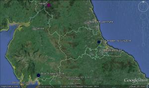 Blue 2H at Hurworth Beck Reservoir Map Courtesy Sally Hutt from Google Earth