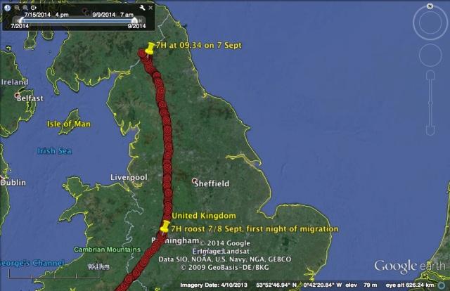 7H's route on 7 September