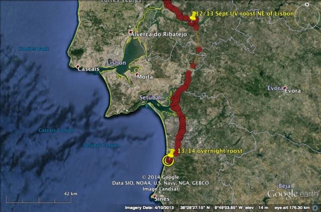 UV's route on 13 September