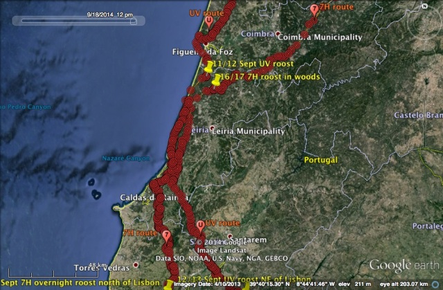 UV and 7H routes overlapping, and parallel, in central coastal Portugal