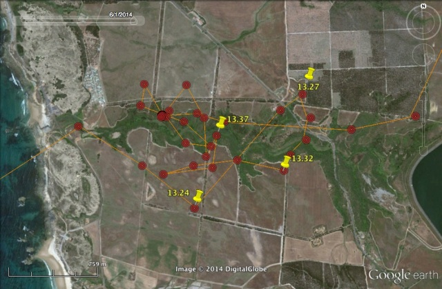 Morgavel river and some of UV's points when he started exploring the area