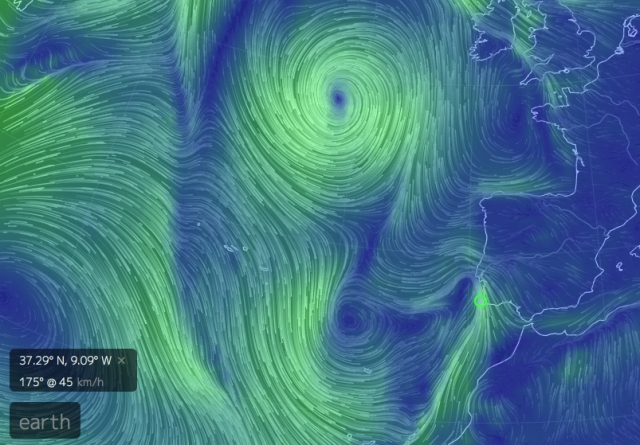 Strong southerly winds of SW Portugal: late afternoon 19 November Image from Earthschool