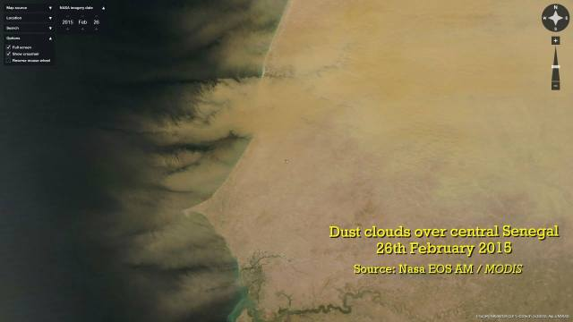 Dust covers the coast of Senegal