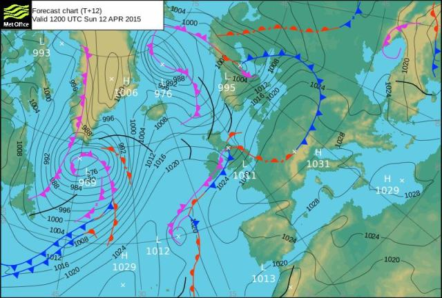 Four weather fronts converge