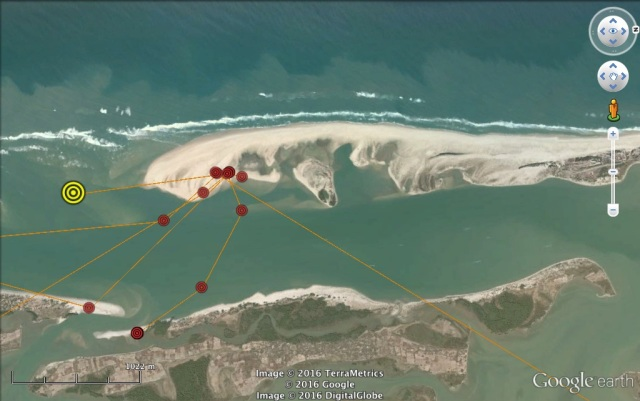 UV's visits to the north spit from the afternoon of 15 March to 10.33 on 17 March