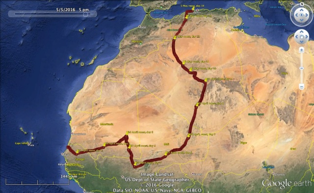 22 April to 5 May: UV's African leg of his first spring migration