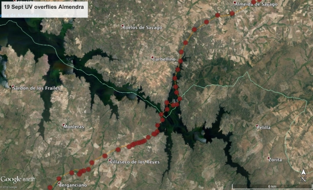 19 Sept: UV flies over the Almendra Reservoir