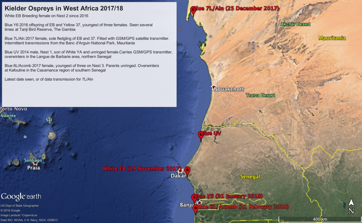 from northern Mauritania to southern Senegal five